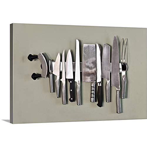 Chefs Magnetic Knife Rack Canvas Wall Art Print, 30