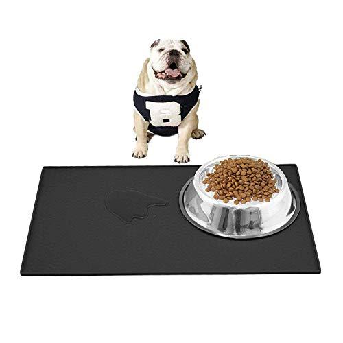 Leeko Silicone Waterproof Dog Cat Pet Food Mats Tray, FDA Grade Silicone Waterproof Pet Food Mat, No Mess Pet Food Mat Dog Bowl Placemat