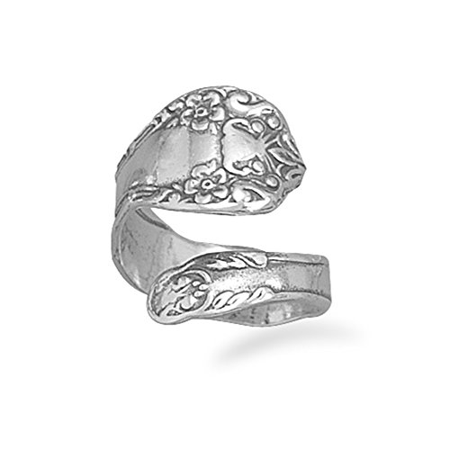 Spoon Ring Oxidized Sterling Silver Floral Design (Oxidized Floral Design Ring)