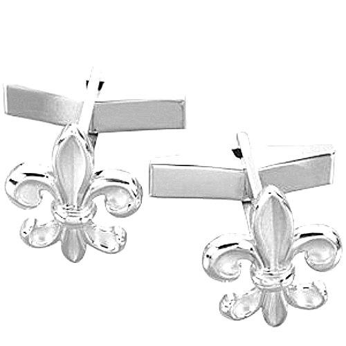 Sterling Silver Fleur-de-Lis Cuff Links, 18.5MM
