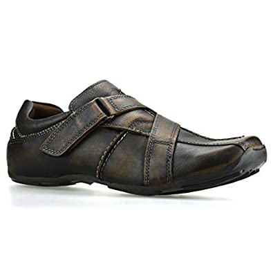 3677f68e9d662 Red Tape Mens 100% Leather Casual Flat Velcro Fashion Trainers Shoes -Brown  Single Velcro