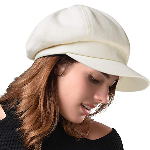 FURHATMALL Newsboy Cap for Women Spring Summer Thin Cotton Linen Gatsby Visor Hat Solid Beige, Medium Size (22''-22.6'')