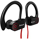 Bluetooth Headphones, Aumoc Wireless Sports Earphones w/Mic IPX7 Waterproof HD Stereo Sweatproof Earbuds for Gym Running Workout 8 Hour Battery Noise Cancelling Headsets-(Black) (2W)