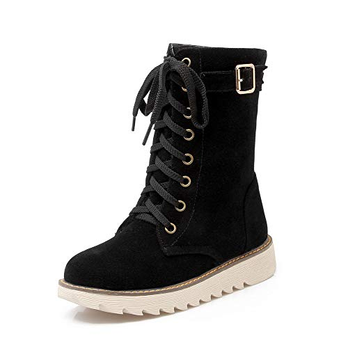 AllhqFashion Women's Low-Heels Solid Closed-Toe Frosted Lace-Up Boots,