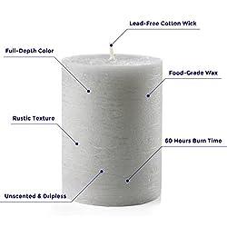 """Set of 3 Grey Pillar Candles 3"""" x 4"""" Gra"""