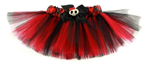 "Rockstar Tutu Girl's Plaid Punk Princess Designer Tutu-Red/Black-2T-4T (19-22"" Waist)"