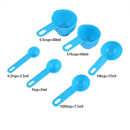 Measuring Cups and Measuring Spoons Set, 7 Tablespoon Teaspoon Measuring Spoons and 1 Plastic Measuring Cup with Strainer and Pourer for Kitchen