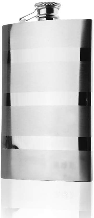 JIA Xing Frasco de Cadera de Acero Inoxidable Exterior portátil de Gama Alta Línea de Cebra Moderna Hervidor de Metal Botella de Vino Hervidor de Vino Petaca Acero Inoxidable