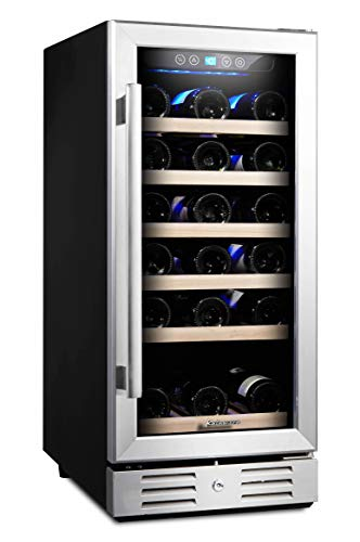 Kalamera 15'' Wine Cooler 30 Bottle Built-in or Freestanding with Stainless Steel & Double-Layer Tempered Glass Door and Temperature Memory ()