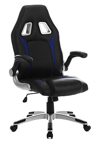 SEATZONE Racing Car Style Gaming Chair with Thick Padded Bucket Seat and Flip-Up Armrest for Home, Office, Video Game Room, Computer Desk, Leatherette, Blue Review
