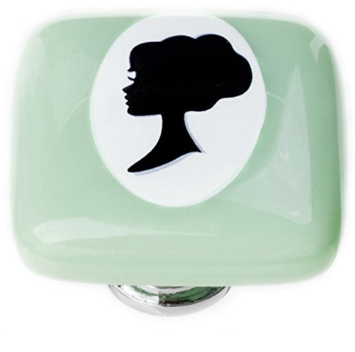 Sietto K-1172-SN New Vintage Square Woman Cameo Knob with Satin Nickel Base, Mint