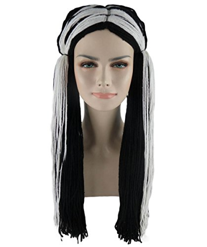 Halloween Party Online Rag Doll Wig, Black/White Adult HW-1118 -