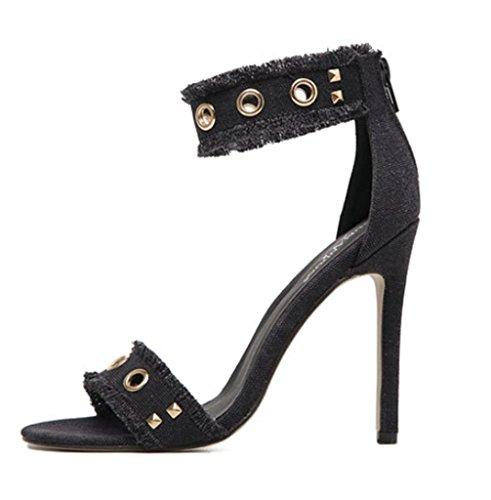 Sandales à Talons pour Femmes,KitzenRivet Tip Fine Sandales Sexy avec Talons Hauts Chaussures De DiscothèQue Chaussures De Banquet, 35