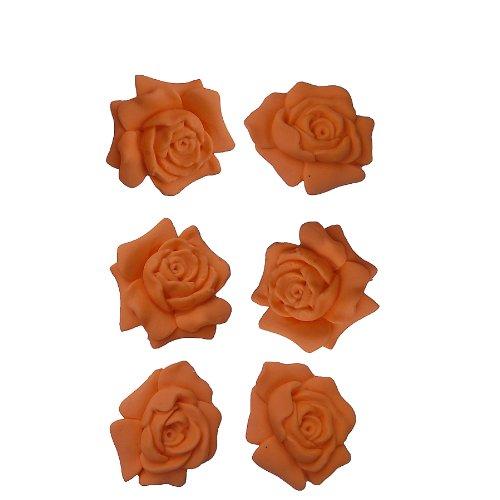 OK Gumpaste 6 Rose Orange for Wedding Birthday Grad. Party Cakes M4302