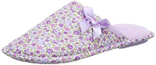Isotoner Ladies Woven Stripe Mules, Pantoufles Femme Violet (Lilas)