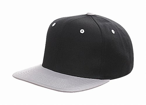 Original Yupoong Two-Tone Pro-Style Wool Blend Snapback Snap Back Blank Hat Baseball Cap 6098MT Black / Silver (Blend Pro Wool Cap)