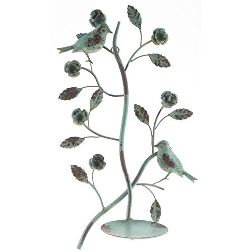 Antiqued Distressed Blue Metal Bird Flowers Leaves Candle Holder Wall Sconce (Leaf Candle Wall Sconce)