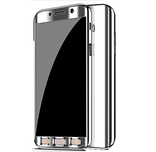 Housse Coque en Samsung 2017 Case 360 PC 2 Etui Miroir A7 Etanche Ultra Protection Choc Mince Intgrale Anti Rayures Placage Galaxy pour Anti Galaxy 2017 Telephone 1 Argent A7 11dqxrAz