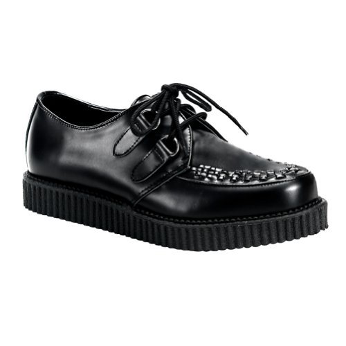 Heren 1 Inch Wedge Platform Creepers Zwart Lederen Veterschoenen Heren Maatvoering