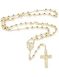 6mm CCB Beads Alloy Crucifix Cross Pendant Rosary Catholic Necklace