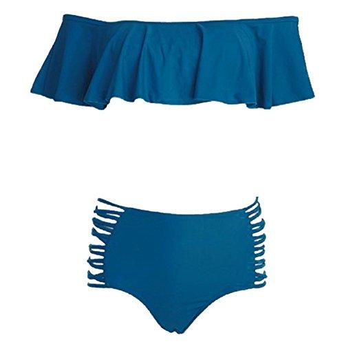 Mujer Cintura Alta Push-Up Bikini Set Trajes de Baño Bikini de Playa Bañador Azul
