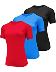 Boyzn 1 or 3 Pack Women's Workout T-Shirt Short Sleeve Athletic Running Shirts Quick Dry Mesh Yoga Tops