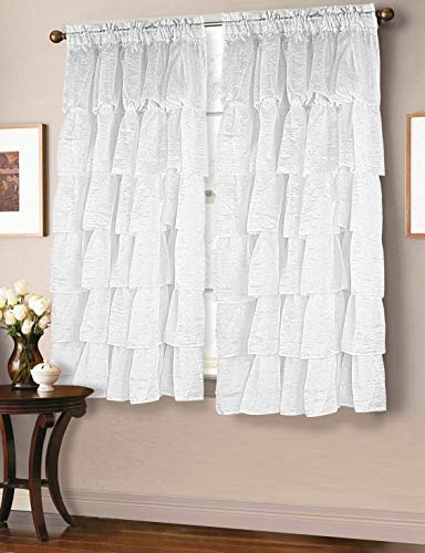 MB Collection Two Piece Crushed semi-Sheer Voile Rod Pocket Panel Gypsy Ruffle Window Treatment Curtain Panels Hem Edges White, 120