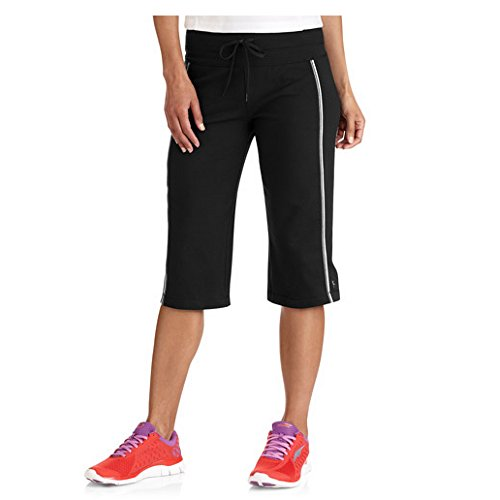 Danskin Now Womens Plus-Size Dri-More Core Piped Bermuda Shorts (2X Plus, Black) (Danskin Capris)