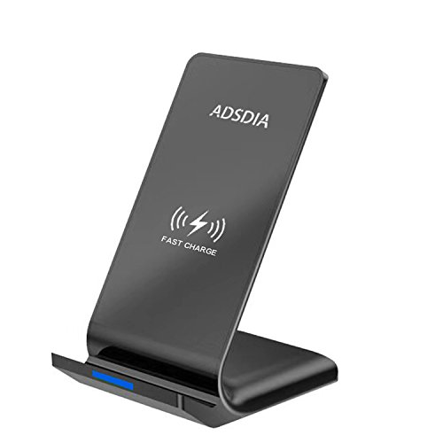 Fast Wireless Charger ADSDIA 10W QI Wireless Charger Charging Pad Stand for Samsung Galaxy and Standard Charge for iPhone X iPhone 8 iPhone 8 Plus (No AC Adapter) by ADSDIA