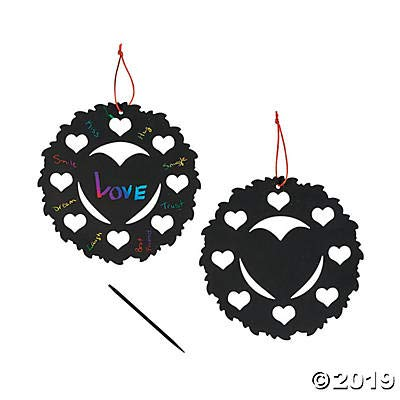 Fun Express 12 Large 8 inch Valentine's Day Scratch Art - 12 Valentine Heart Wreaths with 12 Scratching Tools and 12 Ribbons ()