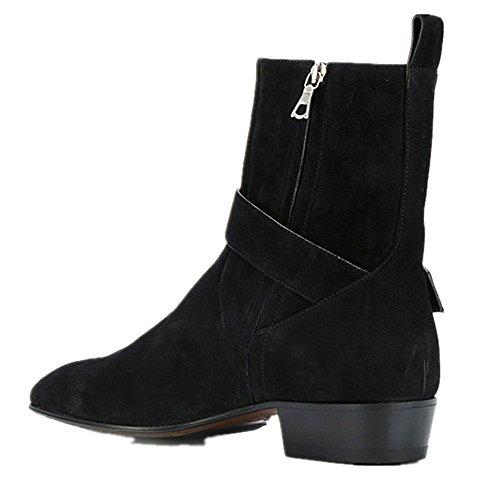 Chelsea Bottes Hommes Daim Moto Noir Robe Bottes Bottines Formelles Chaussures