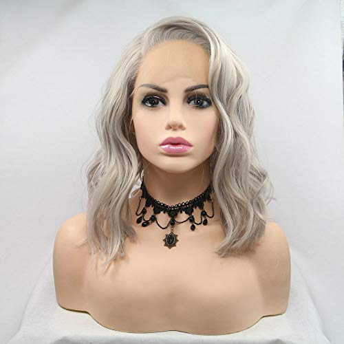 Silver Blonde Wig Synthetic Wavy Short Bob Hair Pastel Ash Blonde Summer Cool Lace Front Wigs Drag Queen Heat Resistant Ladies Wigs for Party Cosplay 14