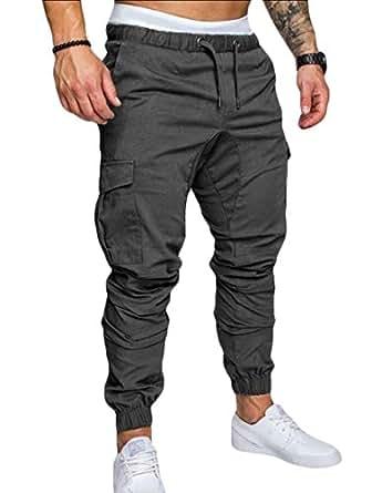 Men's Solid Drawstring Harem Multi-Pockets Slim Fit Leisure Jogger Pants ArmyGreen XS