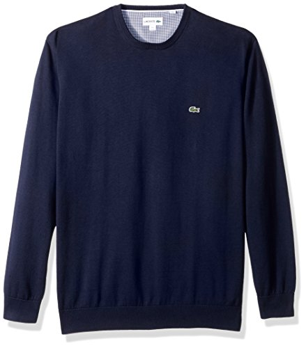 Jersey Ribbed Sweatshirt (Lacoste Men's Crewneck Cotton Jersey Sweater with Green Croc, Navy Blue, 4)