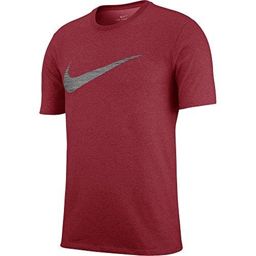 NIKE Men's Dry Swoosh Heather Tee, Gym Red, Large (Nike Men Swim Shirt)