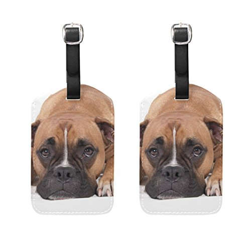 Luggage Tag for Baggage Suitcase 2 PCS Lovely Boxer Dog Leather Travel Bag Address Labels
