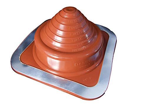 Dektite Premium #3 Red Silicone Metal Roof Pipe Flashing, High Temp, Square Base, Pipe OD 1/4