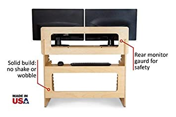 Dual Monitor Standing Desk Converter by Well Desk Adjustable Height Easy Setup