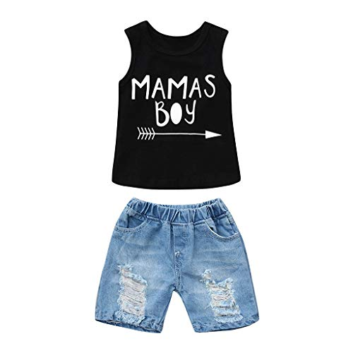 Toddler Baby Boy Letter Clothes Summer Short Sve Tops Denim Pants Shredded Jeans Outfit Two-Piece Set 6M-4T Black