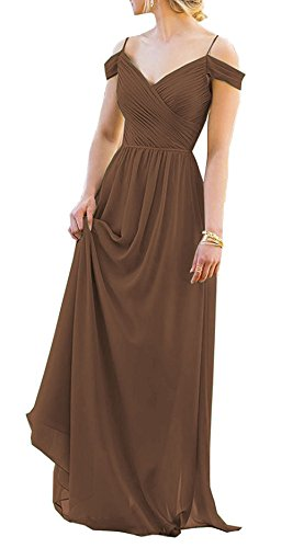 Discount Wedding Veils (Chiffon Long Bridesmaid Dresses Off Shoulder Prom Evening Gowns Maxi Wedding Party Dress US 20W Brown)