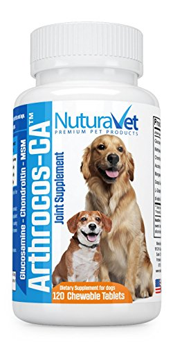 Arthrocos-CA Hip & Joint Support Supplement For Dogs With Glucosamine, MSM, Chondroitin, Vitamins C & E – For Young, Senior & Arthritic Dogs – Vet Approved Formula, USA Made – 120 Chewable Tablets