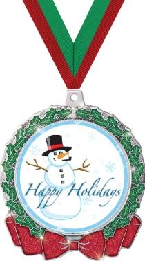 HOLIDAY MEDALS - 2.75'' Glitter Wreath Happy Holidays Medal 50 Pack by Crown Awards
