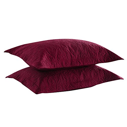 MarCielo 2-Piece Embroidered Pillow Shams, King Decorative Microfiber Pillow Shams Set, King Size (Dark -
