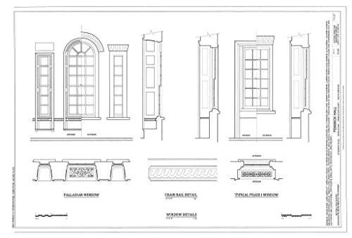 (Blueprint Diagram Window Details and Chair Rail Details - Fenwick Hall Plantation, Northeast of intersection of River Road & Maybank Highway, Johns Island, Charleston County, SC 44in x 30in)