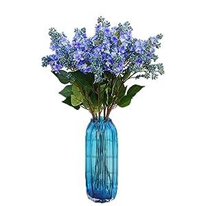 Calcifer 10 Stems (3 Branches/Stem) 27.56'' Artificial Lilac/Syringa vulgaris L. Bouquet Artificial Flowers for Wedding Party Home Garden Office Shop Decoration 92