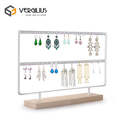 VERGILIUS Earrings Organizer Jewelry Display Wood Stand (44 Holes 2 Layers) (White)