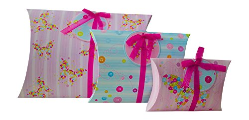 (Gift Wrapping Box Pillow Pouch (Set of 3, Large, Medium and Small) And Matching Gift Tags for Small Gifts, Favors, Presents, Jewelry, Scarves, Weddings, Birthday -Great With Tissue Paper (Buttons))