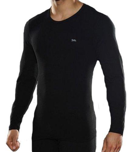 Lonsdale Herren Unterhemd Unterwäsche langarm T Shirt Schwarz