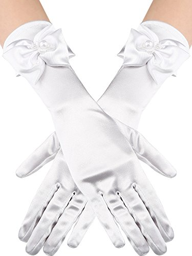 Elbow Wedding Gloves - Sumind Girls Satin Gloves Kids Size Formal Gloves Bow Knot Pearl Glove for Wedding Pageant Parties, White (Elbow Length)