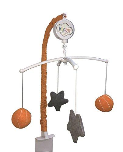 Bacati Basketball Musical Mobile, Orange/Grey